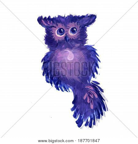 Watercolor fantasy owl with big eyes on a white background