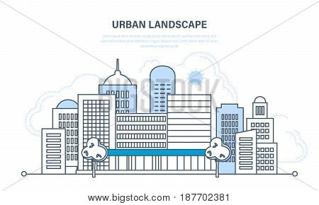 Set of modern cityscape and city life, streets and the exterior of the facade. Urban landscape. Illustration thin line design of vector doodles, infographics elements.
