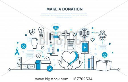 Financial donations, help to maintain health, economic status, contribution to charity. Safety of life. Illustration thin line design of vector doodles, infographics elements.