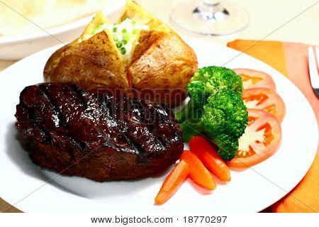 tender steak with baked potato