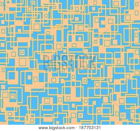 Abstract geometric background. Irregular squares and rectangles pattern orange and light blue overlaying.