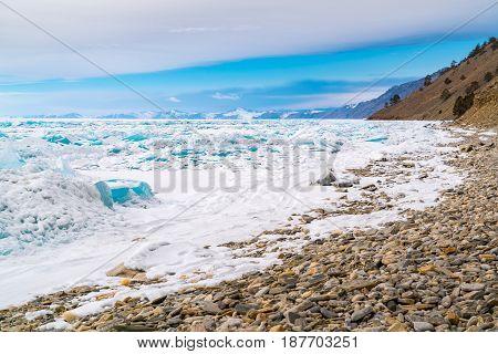 Ice blocks in frozen Lake Baikal Russia