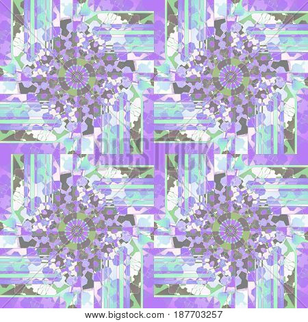 Abstract geometric background. Regular round ornaments in purple shades with white, mint green, dark green and aquamarine.