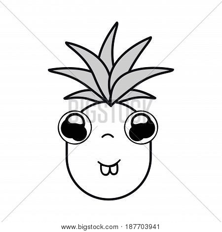 silhouette kawaii cute shy pineapple vegetable, vector illustration