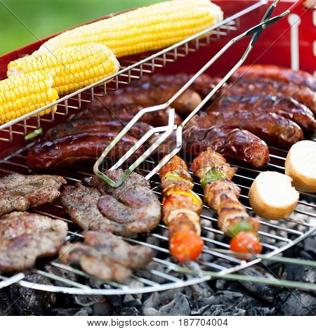 Grill Full Of Delicious Food