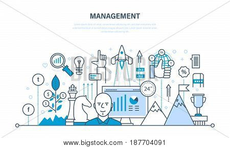 Management, organization of the working process and time, business planning, statistics, analysis, teamwork. Illustration thin line design of vector doodles, infographics elements.