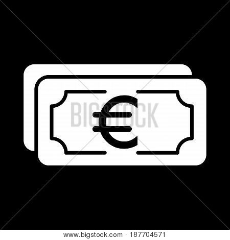Money euro vector icon. Black and white cash illustration. Solid linear banking icon. eps 10