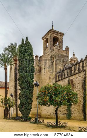 Wall and tower of Alcazar of Cordoba Spain