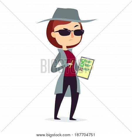 Mystery shopper woman in spy coat, boots, sunglasses and hat with pen and checklist. Full-length vector.