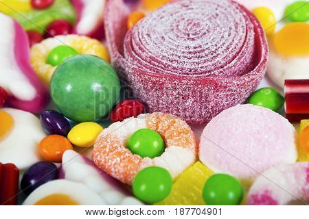 Jelly sugar candies. Multicolored background made of various colorful candies