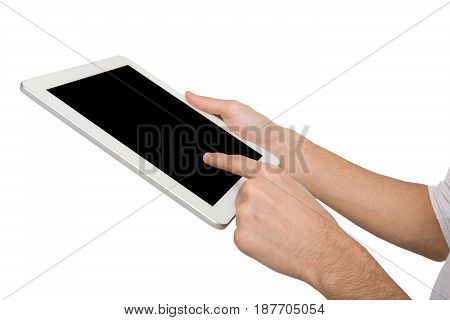 Closeup of man touching digital tablet display, cutout. Male hand holding digital tablet and pointing with index finger on blank screen, white isolated background, copy space