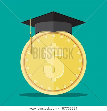 Graduation cap and gold coin. Education savings and investmet concept. Vector illustration in flat design.
