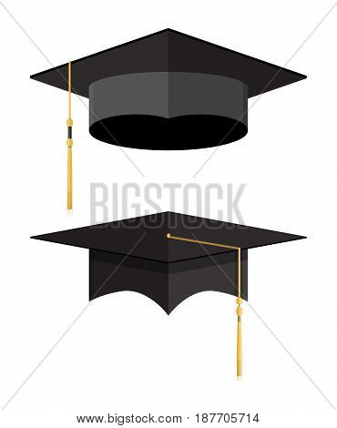 Academic graduation cap. Student hat. Vector illustration in flat style