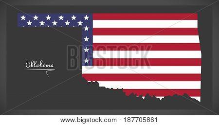 Oklahoma Map With American National Flag Illustration