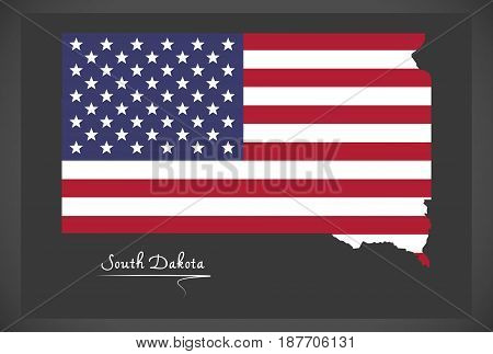 South Dakota Map With American National Flag Illustration