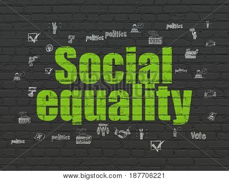 Political concept: Painted green text Social Equality on Black Brick wall background with  Hand Drawn Politics Icons
