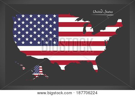 United States Map With American National Flag Illustration