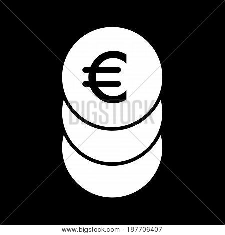 Stack of euro coins vector icon. Black and white cash illustration. Solid linear money icon. eps 10