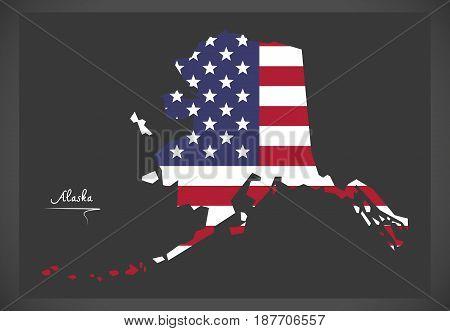 Alaska Map With American National Flag Illustration.eps