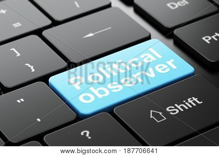 Political concept: computer keyboard with word Political Observer, selected focus on enter button background, 3D rendering