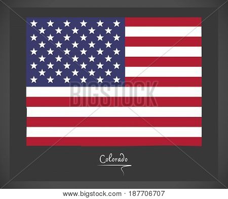 Colorado Map With American National Flag Illustration