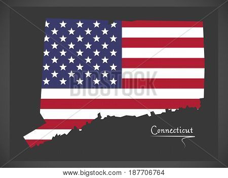 Connecticut Map With American National Flag Illustration