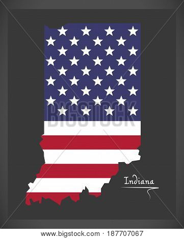 Indiana Map With American National Flag Illustration