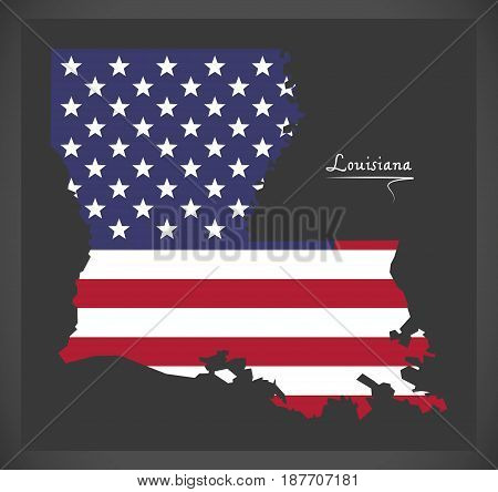 Louisiana Map With American National Flag Illustration