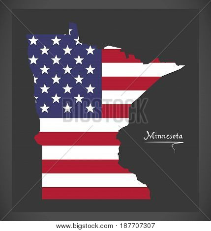 Minnesota Map With American National Flag Illustration