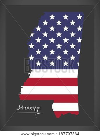 Mississippi Map With American National Flag Illustration