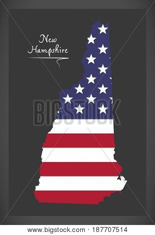 New Hampshire Map With American National Flag Illustration