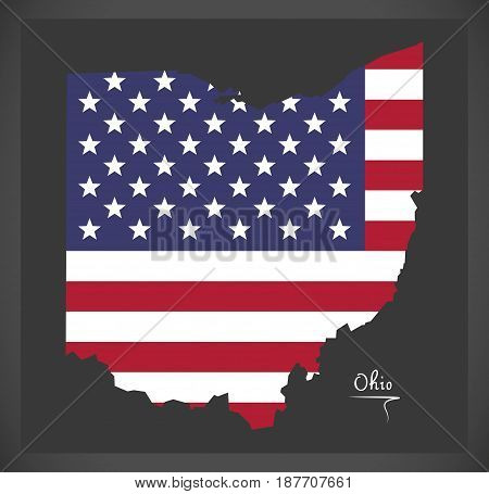 Ohio Map With American National Flag Illustration