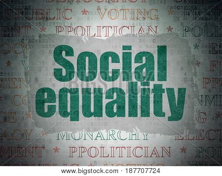 Politics concept: Painted green text Social Equality on Digital Data Paper background with   Tag Cloud