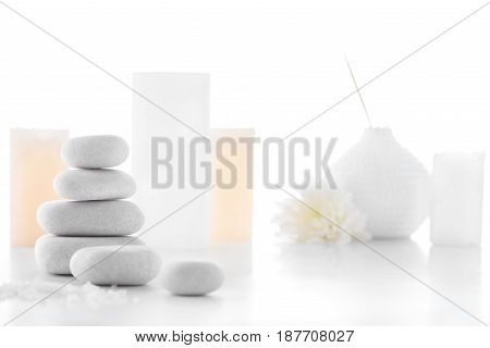 Zen Stones And Candles Isolated On White, Spa Treatment Concept