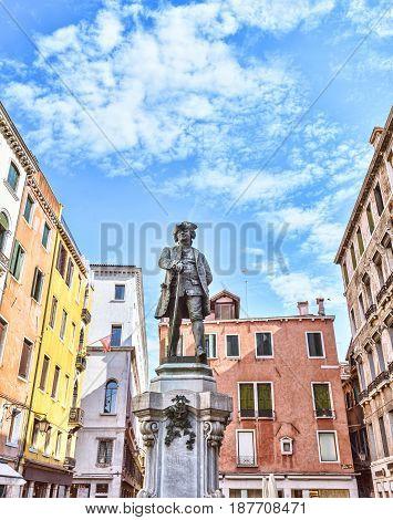 Carlo Goldoni in Campo San Bartolomeo Venice. Famous playwright and librettist statue