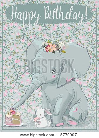 cute cartoon elephant with little white hare