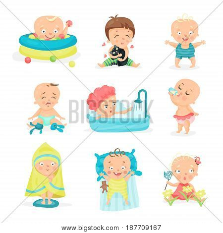 Cute little babies in different situations set. Happy smiling little boys and girls vector illustrations isolated on a white background