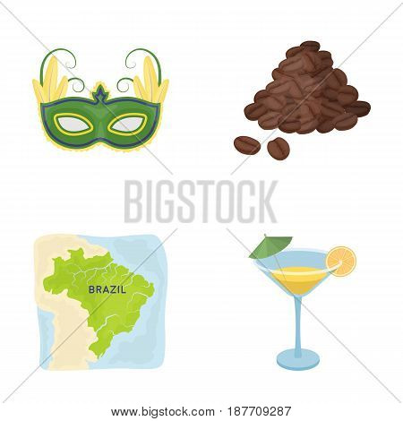Brazil, country, mask, carnival . Brazil country set collection icons in cartoon style vector symbol stock illustration .