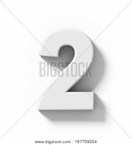 Number 2 3D White Isolated On White With Shadow - Orthogonal Projection