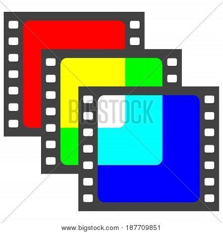Film frame shot overlay RGB colors, vector rgb logo