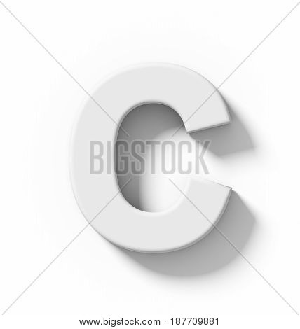 Letter C 3D White Isolated On White With Shadow - Orthogonal Projection
