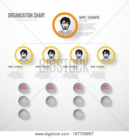 Organization chart template with colorful circles and place for your text.