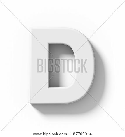 Letter D 3D White Isolated On White With Shadow - Orthogonal Projection