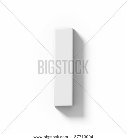 Letter I 3D White Isolated On White With Shadow - Orthogonal Projection