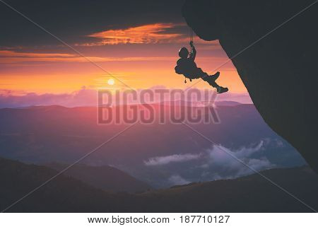 Climber Against Sunset Background. Instagram Stylisation