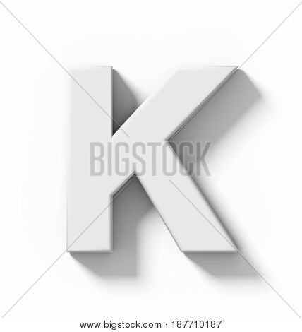 Letter K 3D White Isolated On White With Shadow - Orthogonal Projection