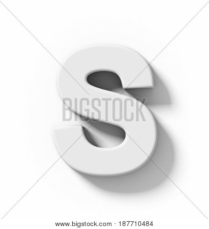 Letter S 3D White Isolated On White With Shadow - Orthogonal Projection