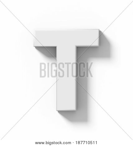 Letter T 3D White Isolated On White With Shadow - Orthogonal Projection