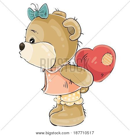 Vector illustration of a loving brown teddy bear girl hiding behind her plush red heart and about to kiss someone. Print, template, design element