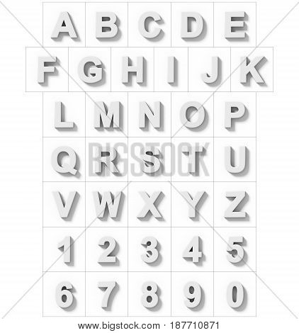 Letters And Numbers 3D White Isolated On White With Shadow - Orthogonal Projection